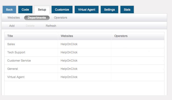 Set up departments - HelpOnClick