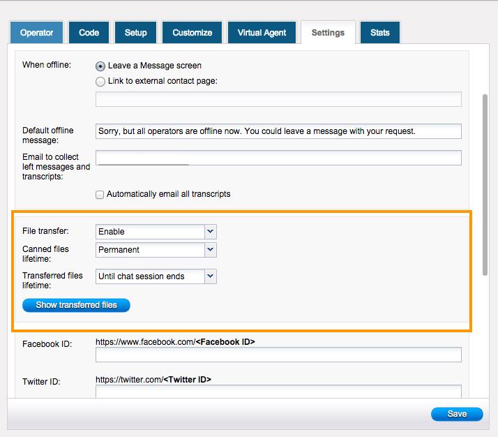 HelpOnClick Operator Panel File transfer settings
