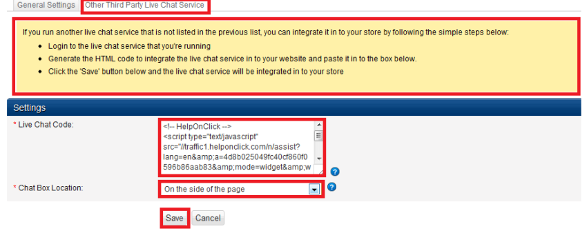 Paste live chat code for BigCommerce - HelpOnClick