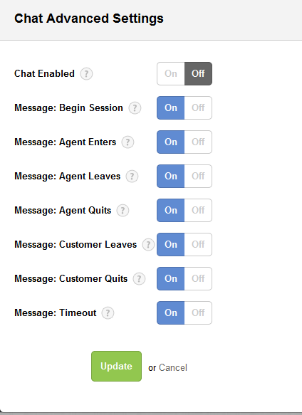 Chat advanced settings for Desk.com - HelpOnClick