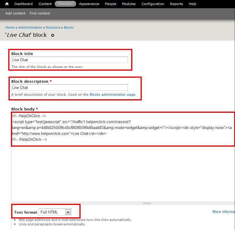 Live chat block on Drupal - HelpOnClick