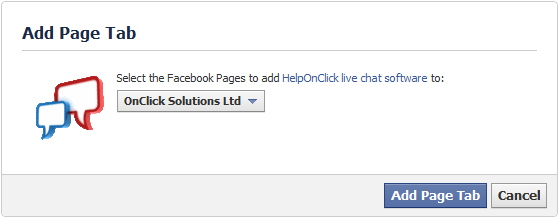 Add chat page tab to Facebook