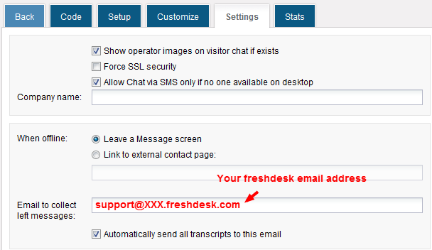 Forward chat transcripts to Freshdesk