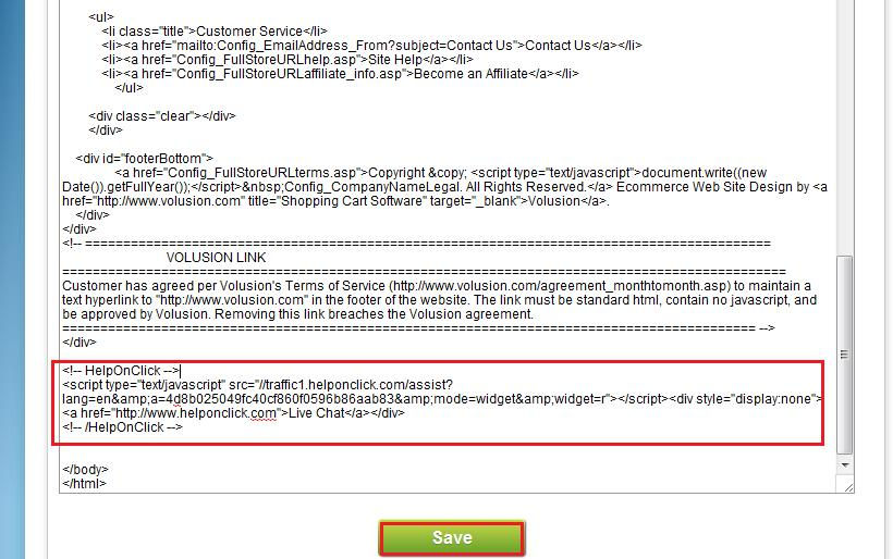 Insert live chat code to Volusion website - HelpOnClick