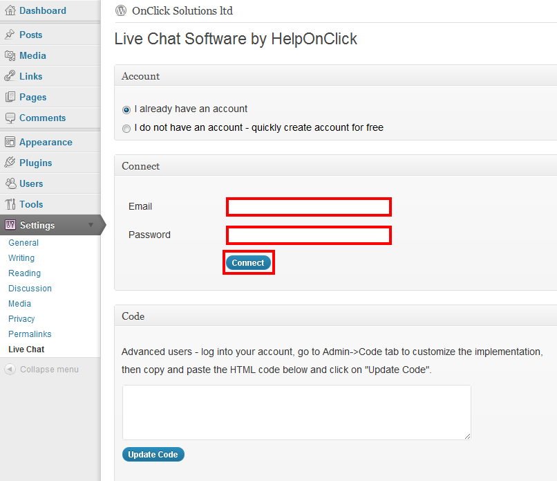 Set up live chat plugin for WooCommerce - HelpOnClick