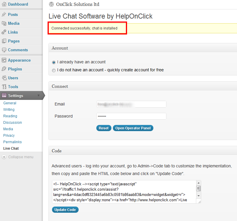 Live chat plugin for WooCommerce installed successfully - HelpOnClick