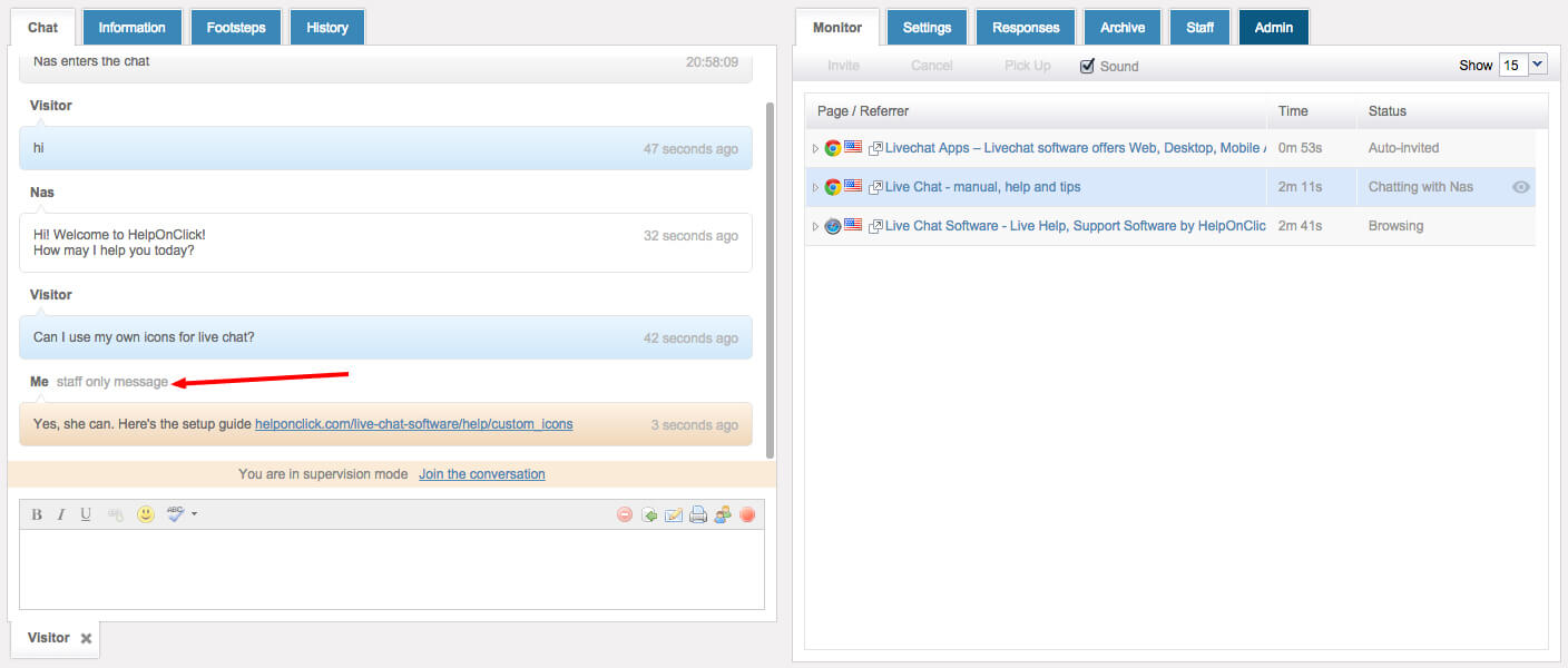 HelpOnClick Live Chat Supervision internal message