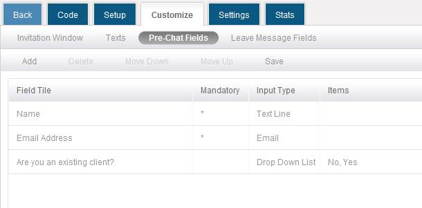 Pre-chat fields