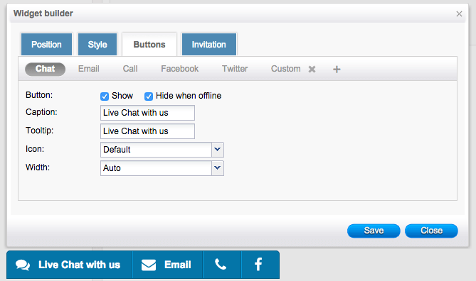 toolbar4Social chat toolbar buttons settings - HelpOnClick